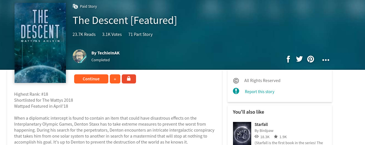 The Descent Joins The Wattpad Paid Stories Program – Tall